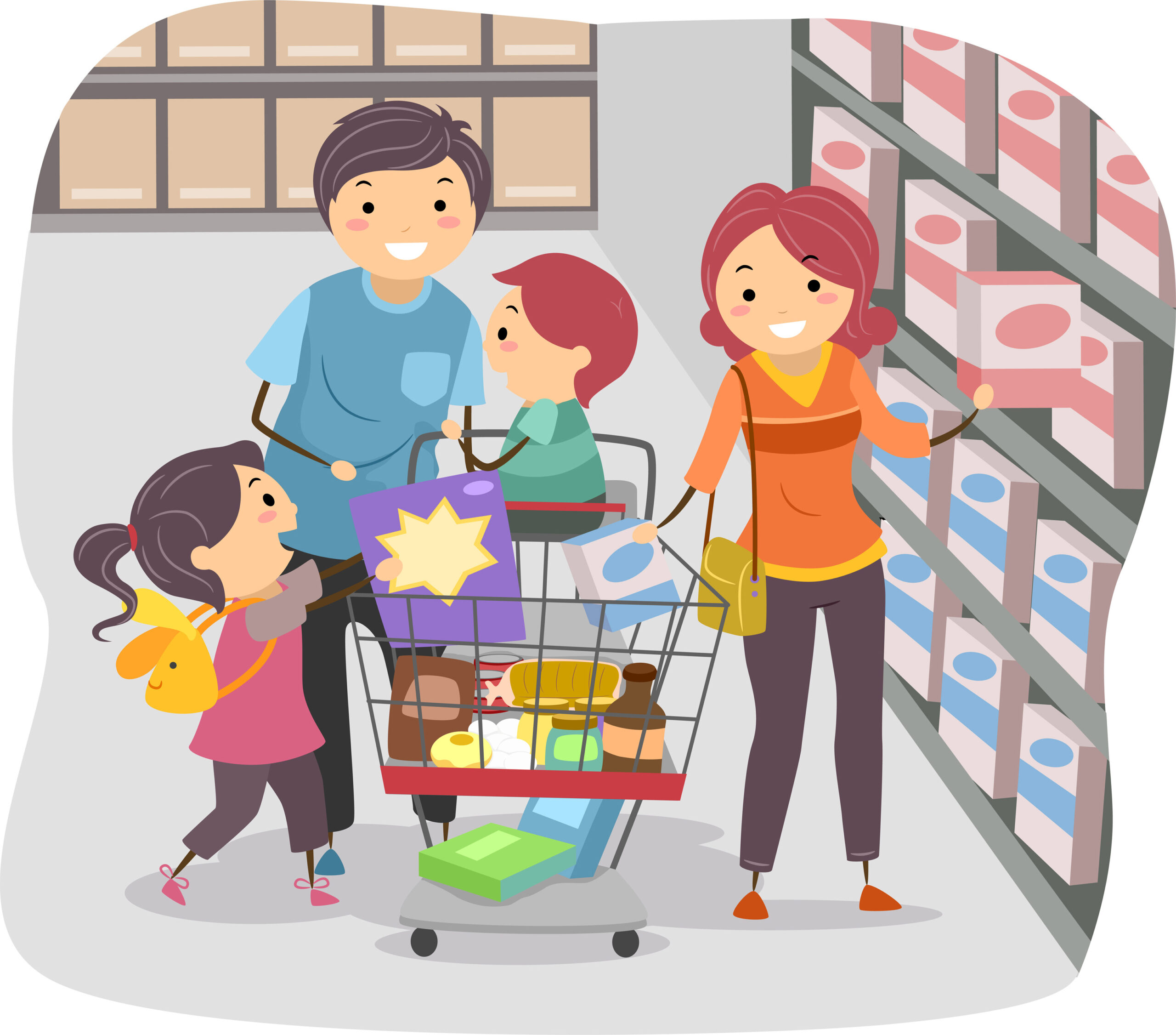 Illustration of Stickman Family Shopping in a Grocery Store; Shutterstock ID 145703213; purchase_order: -; job: -; client: -; other: -