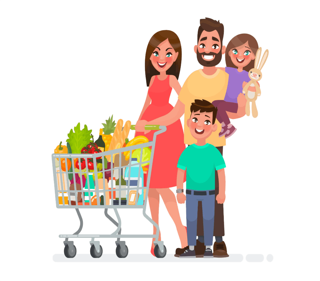 Happy family with a grocery cart full of products is shopping at the supermarket. Vector illustration in cartoon style; Shutterstock ID 1037950231; purchase_order: -; job: -; client: -; other: -