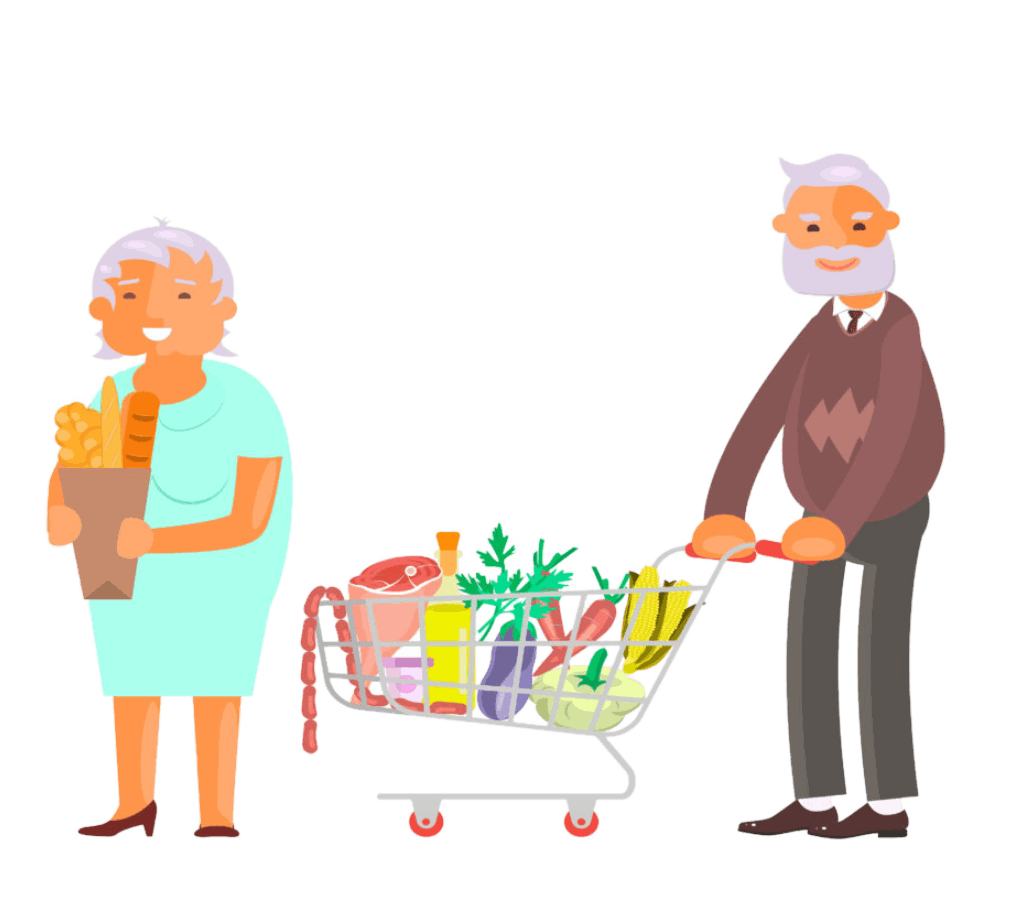 Healthy active lifestyle retiree for grandparents. Elderly people characters on shopping at the grocery store.  Grandparents family Seniors isolated on white background Vector illustration eps 10; Shutterstock ID 1027963330; purchase_order: -; job: -; client: -; other: -